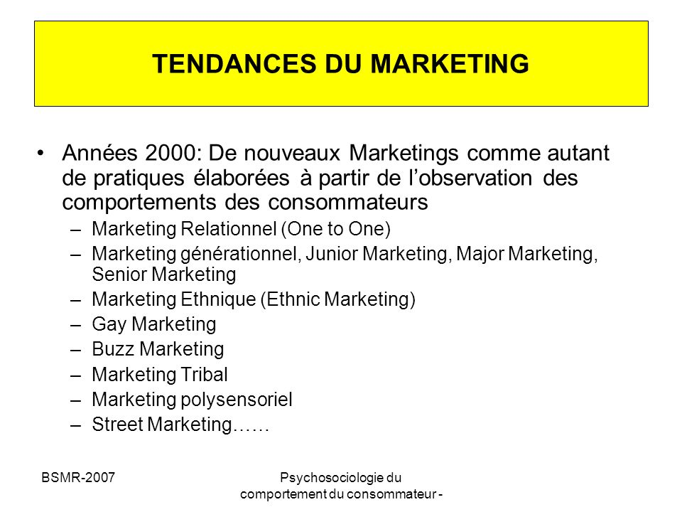 TENDANCES DU MARKETING