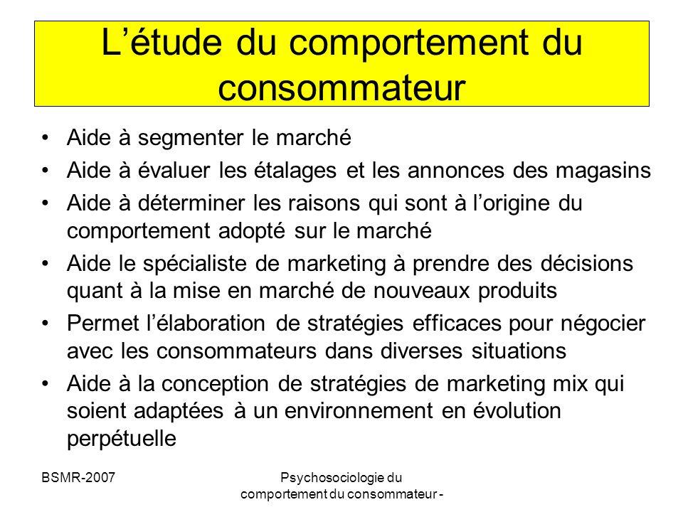 L'étude du comportement du consommateur