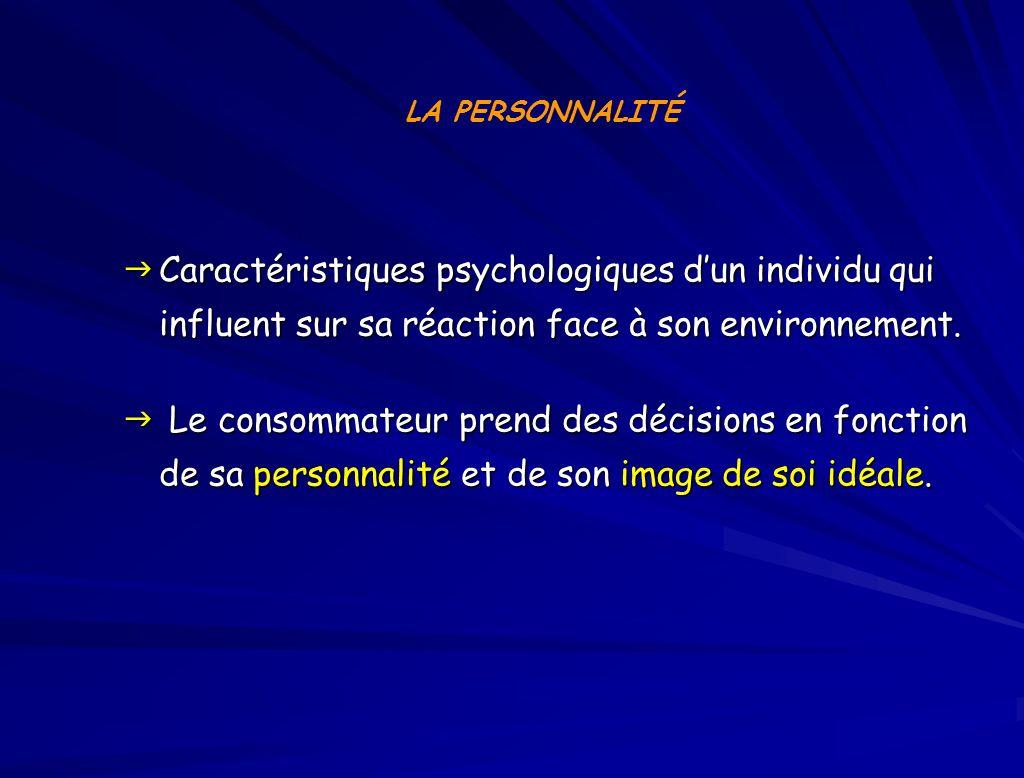 LA PERSONNALITÉ Caractéristiques psychologiques d'un individu qui influent sur sa réaction face à son environnement.