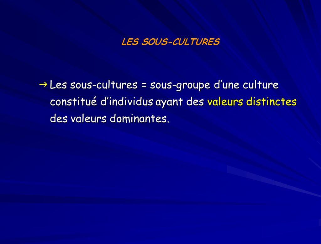 LES SOUS-CULTURES Les sous-cultures = sous-groupe d'une culture constitué d'individus ayant des valeurs distinctes des valeurs dominantes.