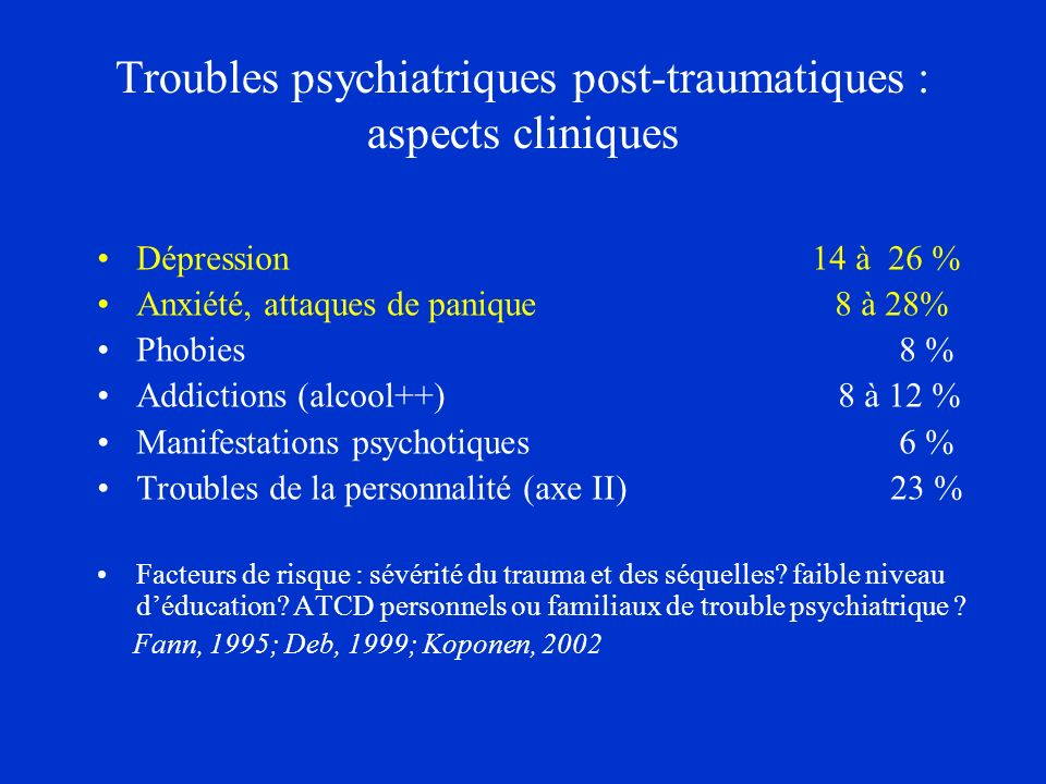 Troubles psychiatriques post-traumatiques : aspects cliniques