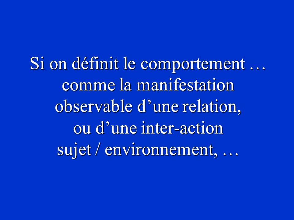 Si on définit le comportement … comme la manifestation observable d'une relation, ou d'une inter-action sujet / environnement, …