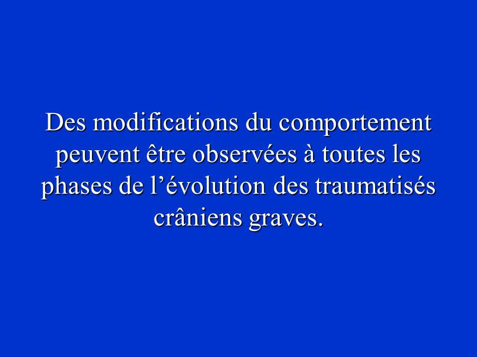 Des modifications du comportement peuvent être observées à toutes les phases de l'évolution des traumatisés crâniens graves.