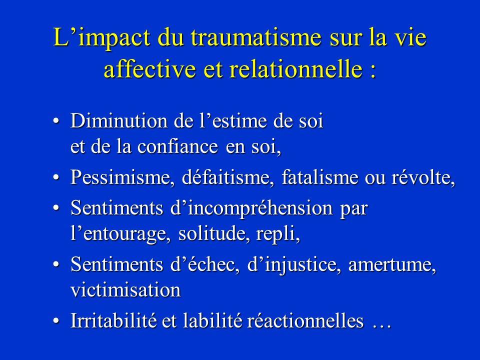 L'impact du traumatisme sur la vie affective et relationnelle :