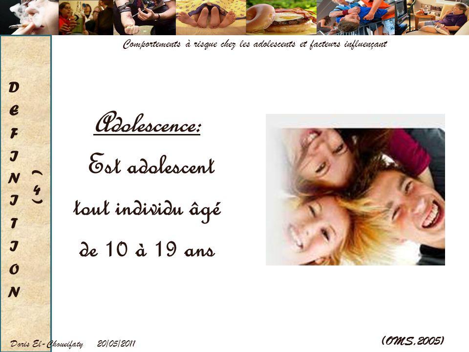 Adolescence: Est adolescent tout individu âgé de 10 à 19 ans