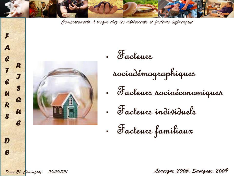 Facteurs sociodémographiques Facteurs socioéconomiques