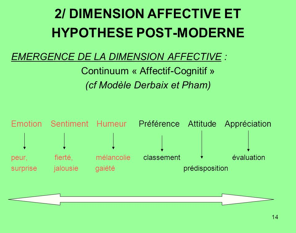 2/ DIMENSION AFFECTIVE ET HYPOTHESE POST-MODERNE