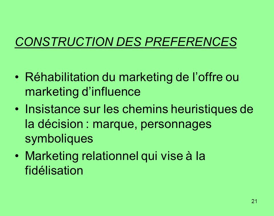 CONSTRUCTION DES PREFERENCES