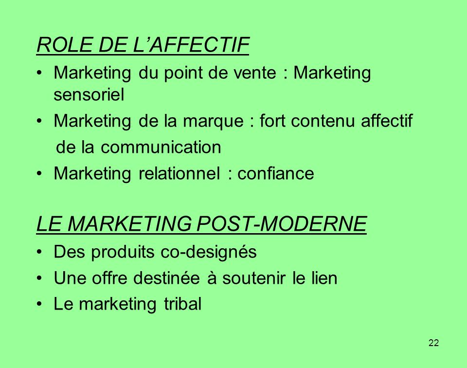 LE MARKETING POST-MODERNE