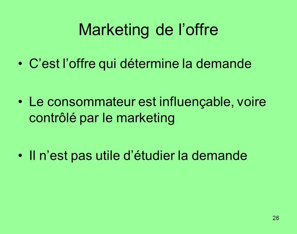 Marketing de l'offre C'est l'offre qui détermine la demande