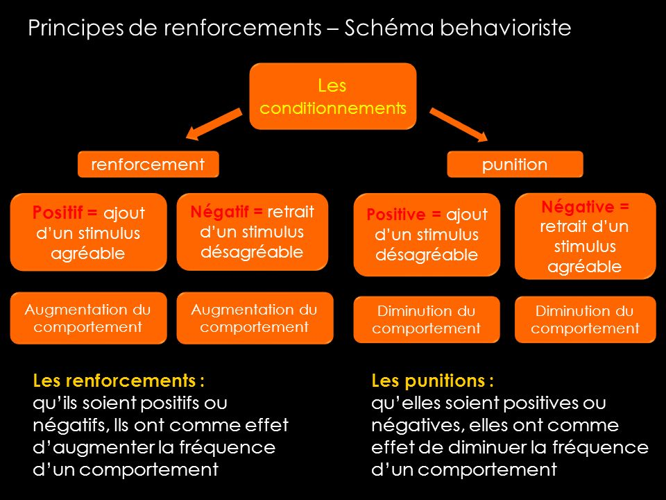 Principes de renforcements – Schéma behavioriste