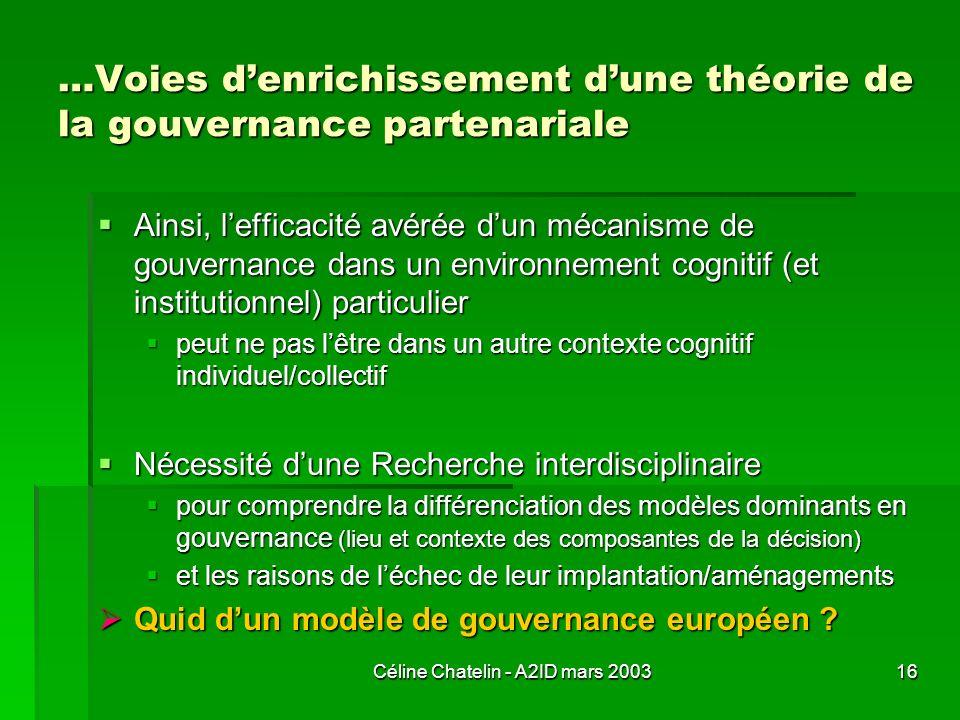 …Voies d'enrichissement d'une théorie de la gouvernance partenariale