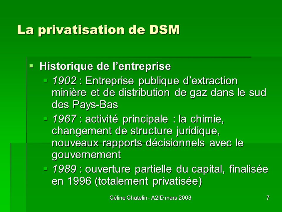 La privatisation de DSM