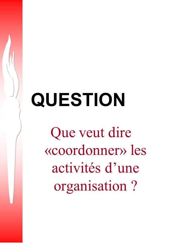 Que veut dire «coordonner» les activités d'une organisation