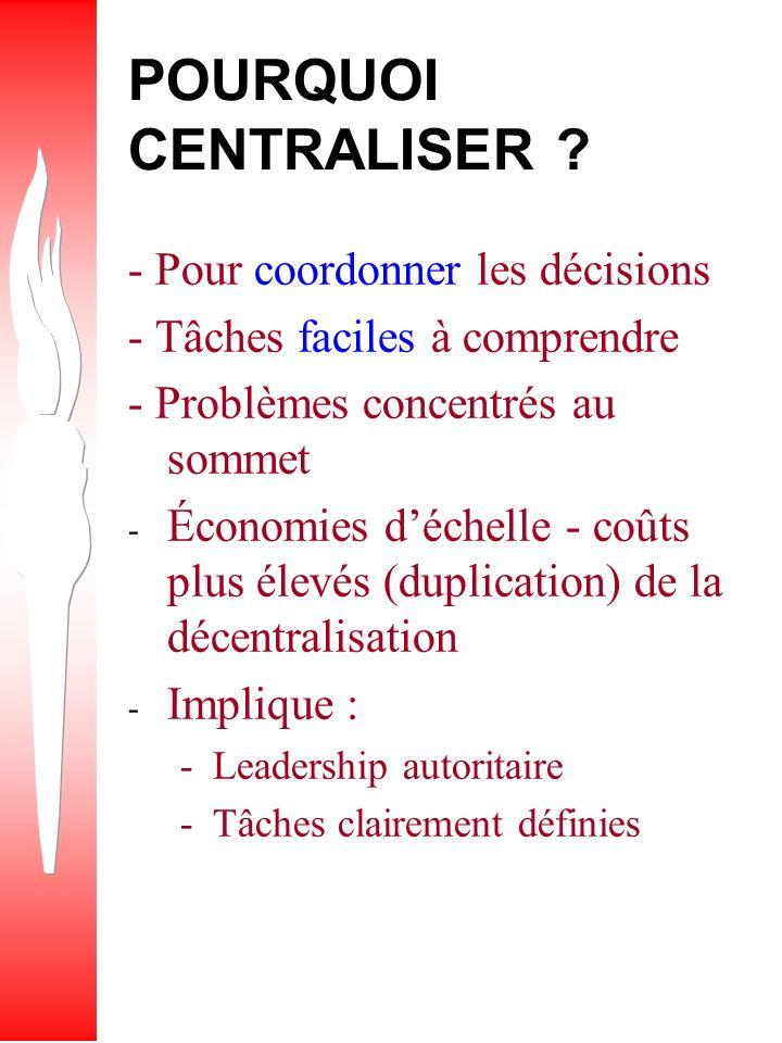 POURQUOI CENTRALISER - Pour coordonner les décisions