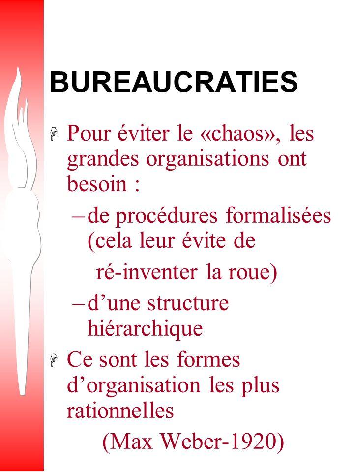 BUREAUCRATIES Pour éviter le «chaos», les grandes organisations ont besoin : de procédures formalisées (cela leur évite de.