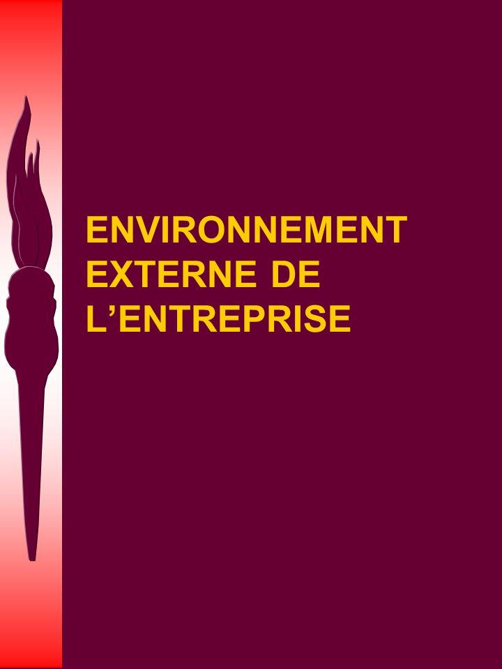 ENVIRONNEMENT EXTERNE DE L'ENTREPRISE