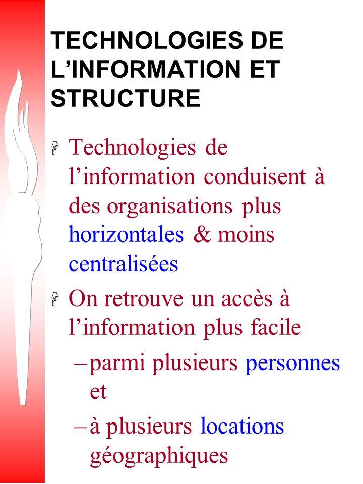 TECHNOLOGIES DE L'INFORMATION ET STRUCTURE