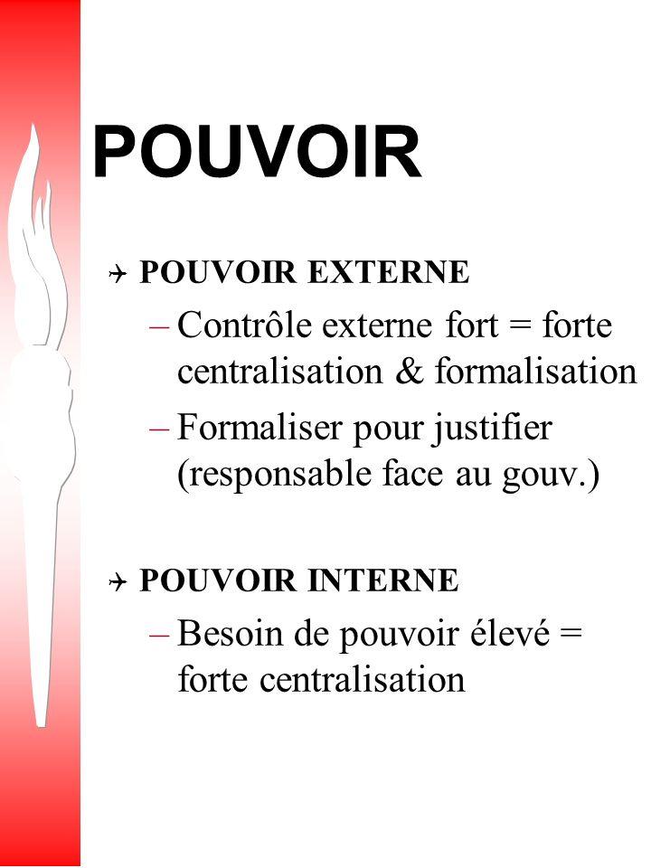 POUVOIR Contrôle externe fort = forte centralisation & formalisation