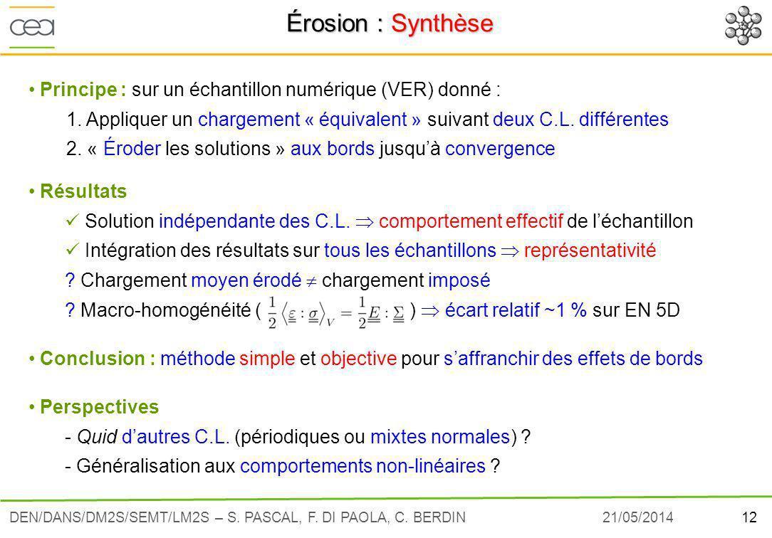 Érosion : Synthèse Principe : sur un échantillon numérique (VER) donné : 1. Appliquer un chargement « équivalent » suivant deux C.L. différentes.