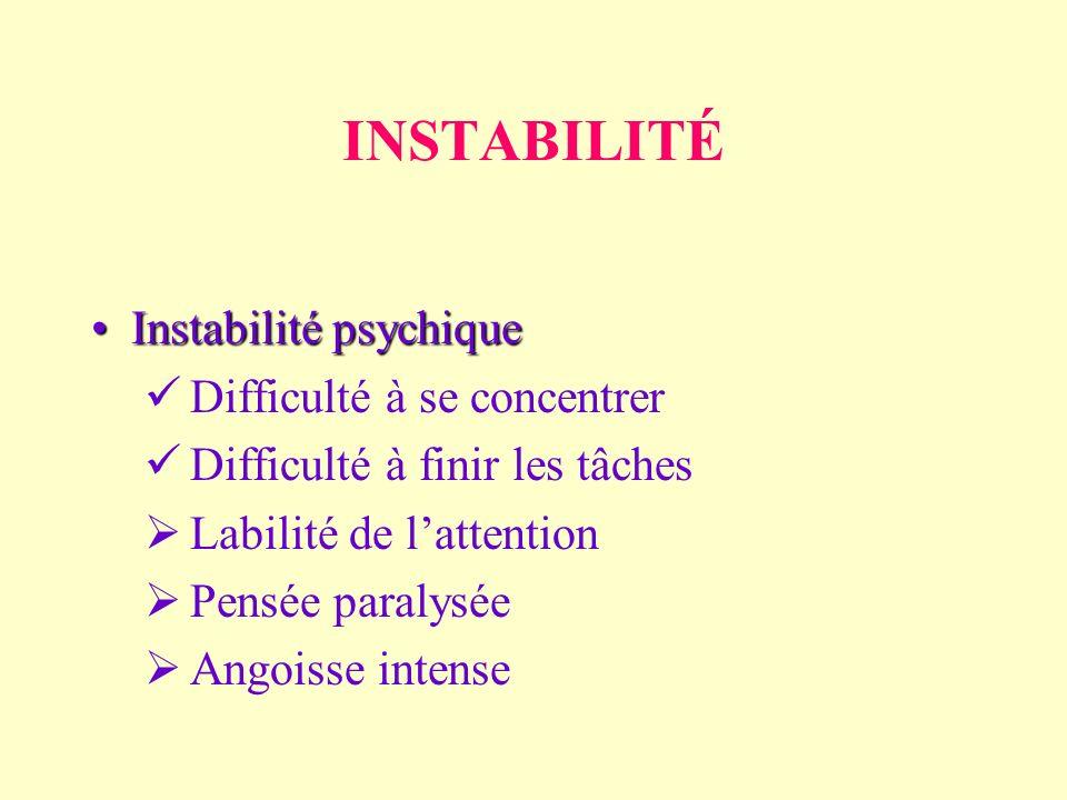 INSTABILITÉ Instabilité psychique Difficulté à se concentrer