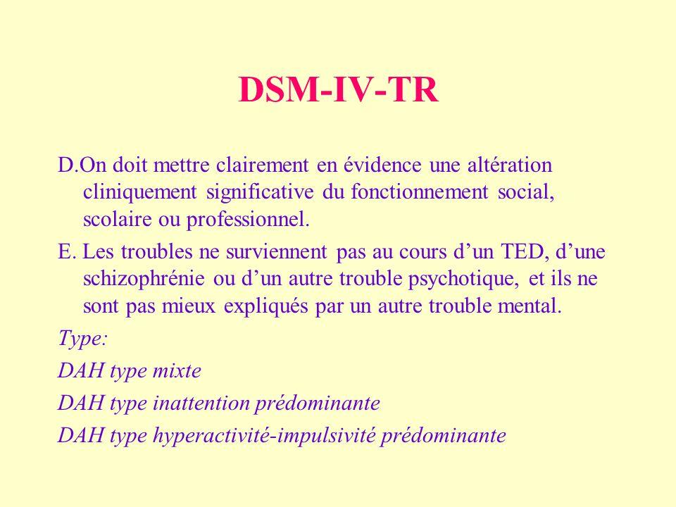 DSM-IV-TR D.On doit mettre clairement en évidence une altération cliniquement significative du fonctionnement social, scolaire ou professionnel.