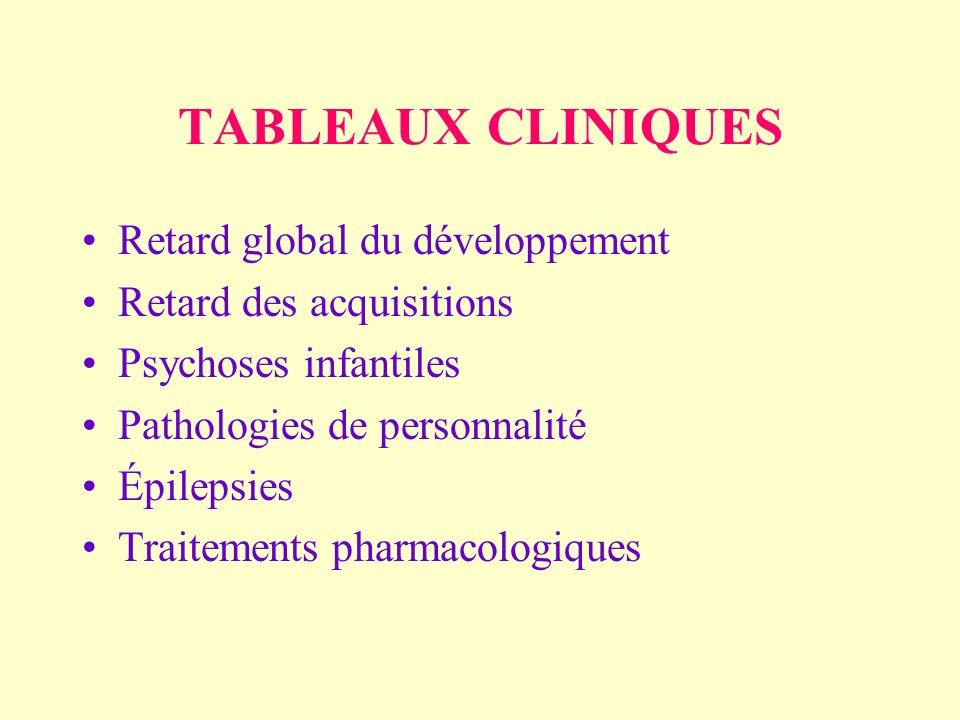 TABLEAUX CLINIQUES Retard global du développement