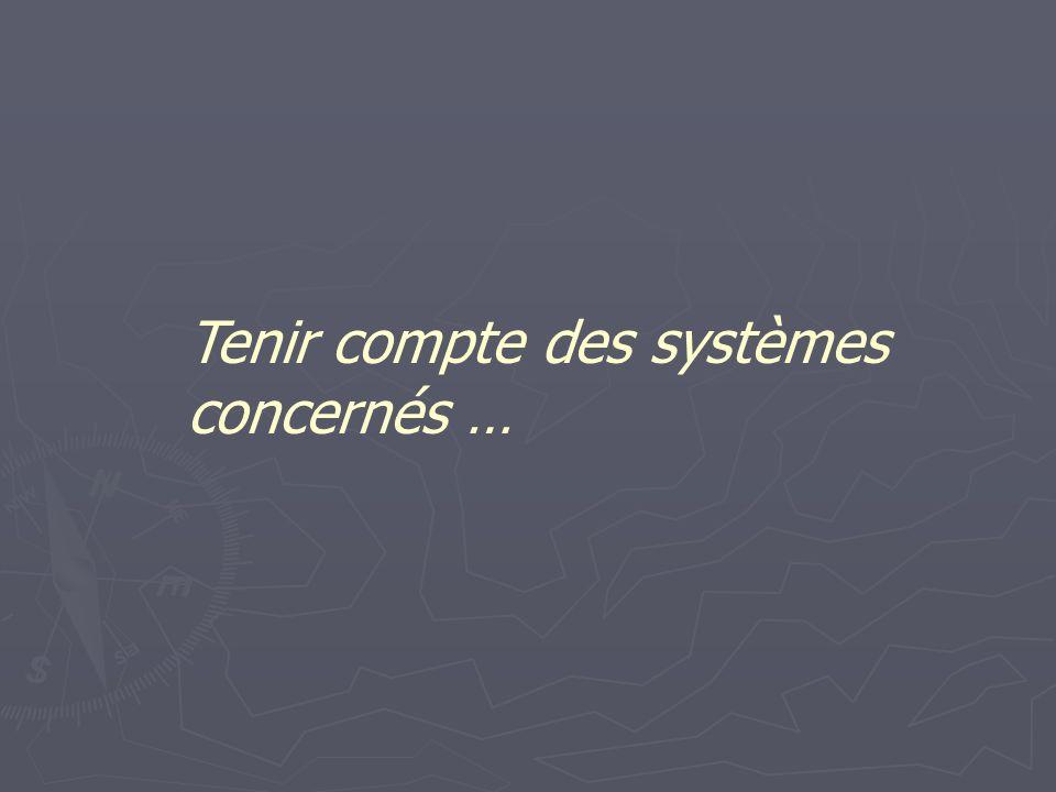Tenir compte des systèmes concernés …
