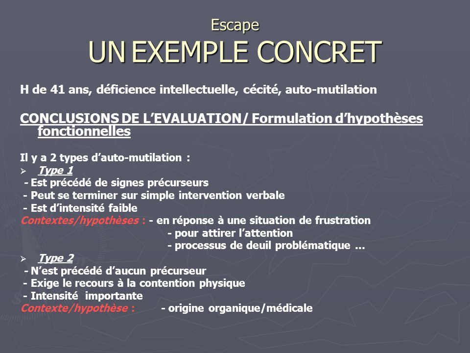 Escape UN EXEMPLE CONCRET