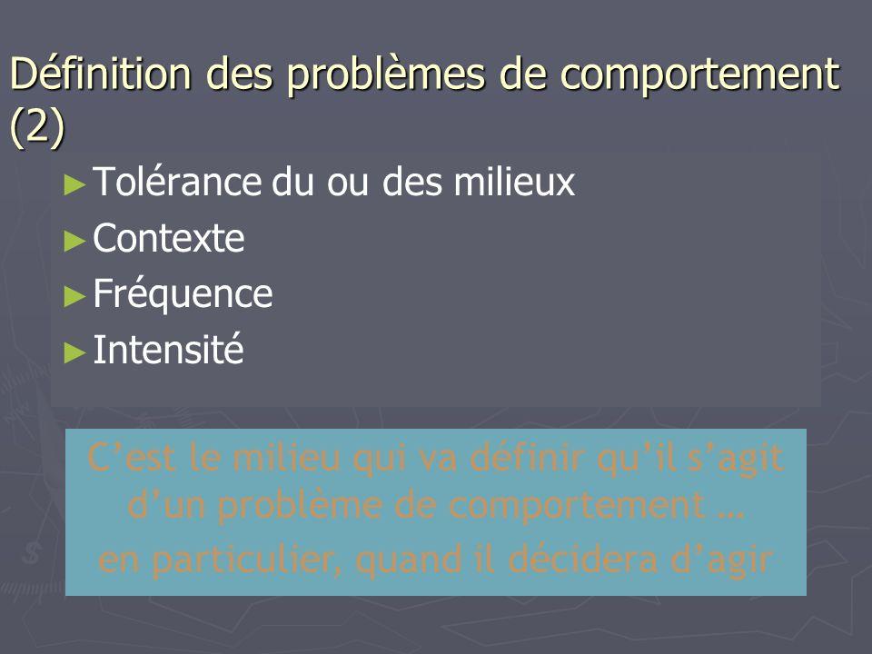 Définition des problèmes de comportement (2)