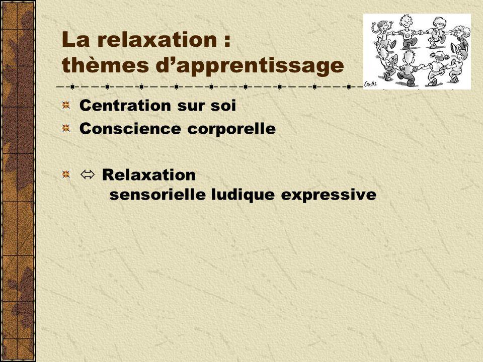 La relaxation : thèmes d'apprentissage