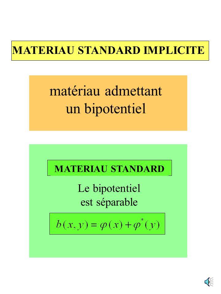 matériau admettant un bipotentiel MATERIAU STANDARD IMPLICITE