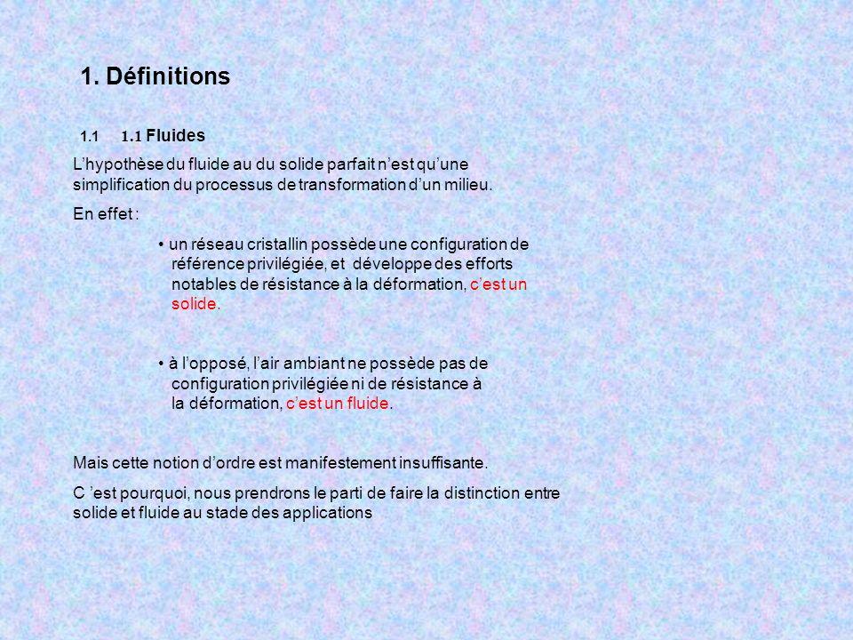 1. Définitions 1.1 1.1 Fluides.