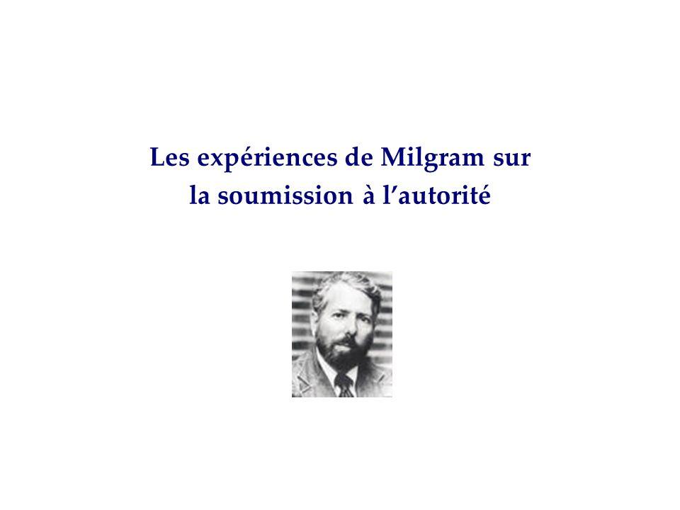 Les expériences de Milgram sur la soumission à l'autorité