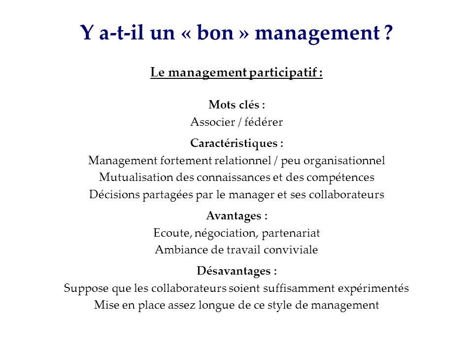 Y a-t-il un « bon » management Le management participatif :