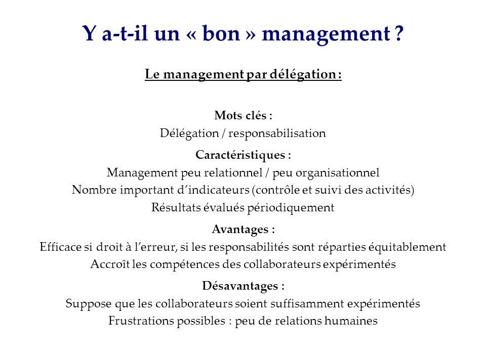Y a-t-il un « bon » management Le management par délégation :