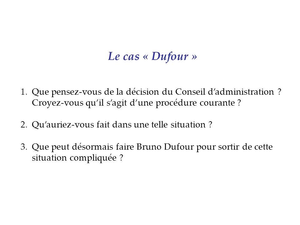 Le cas « Dufour » Que pensez-vous de la décision du Conseil d'administration Croyez-vous qu'il s'agit d'une procédure courante