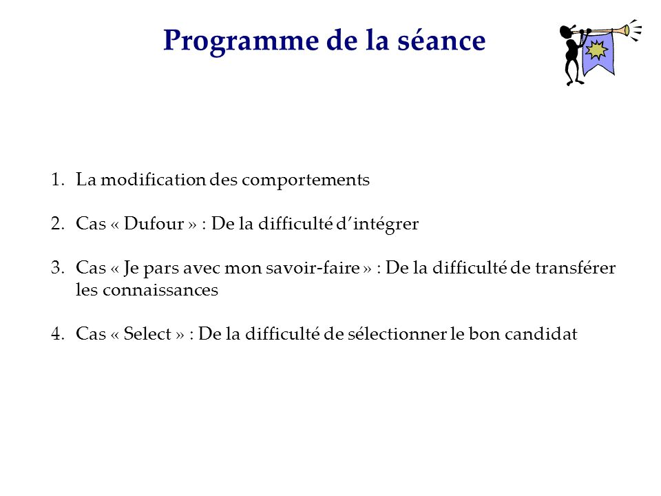 Programme de la séance La modification des comportements