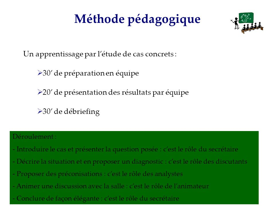 Méthode pédagogique Un apprentissage par l'étude de cas concrets :