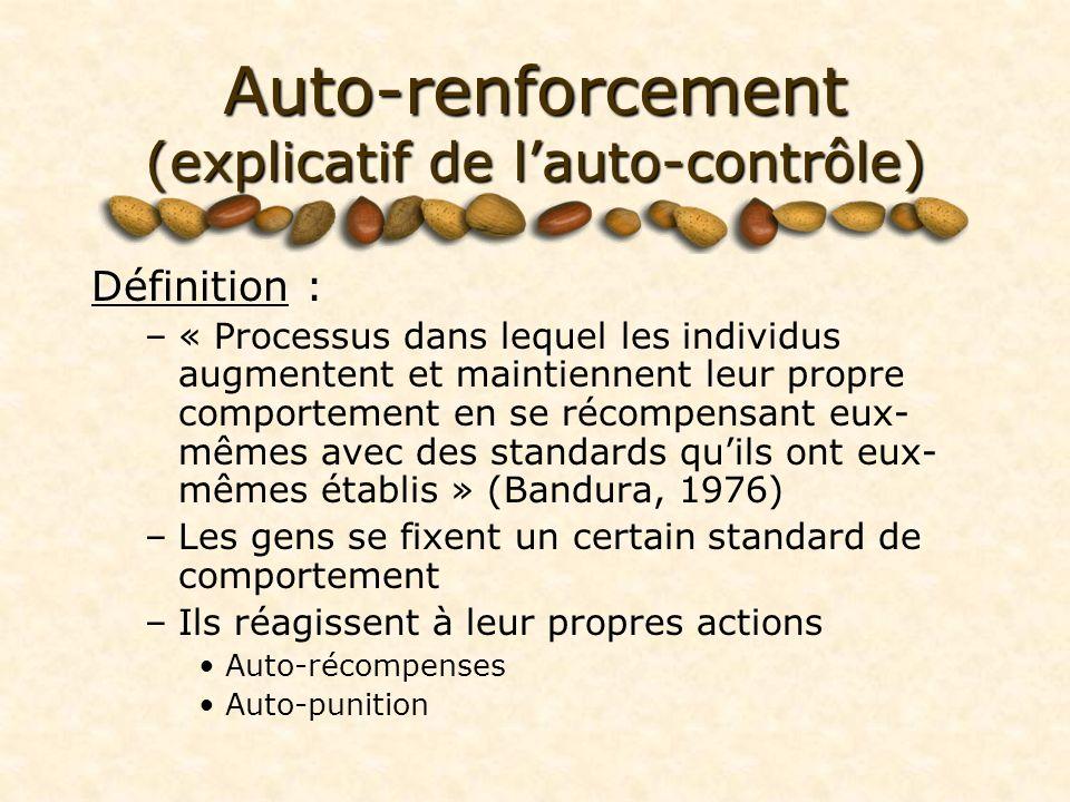 Auto-renforcement (explicatif de l'auto-contrôle)