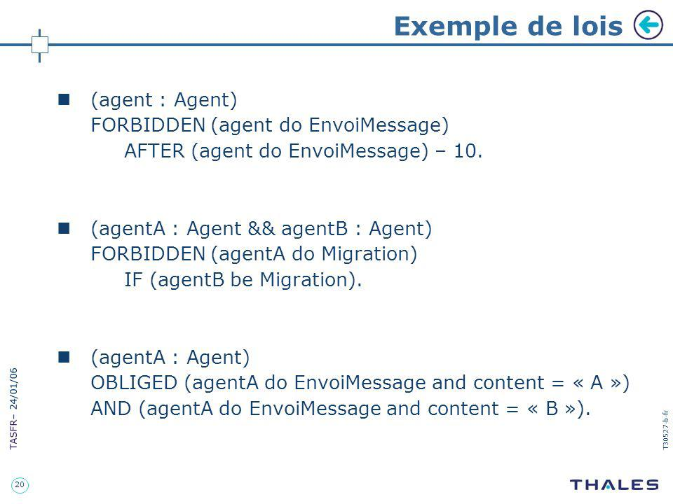 Exemple de lois (agent : Agent) FORBIDDEN (agent do EnvoiMessage)