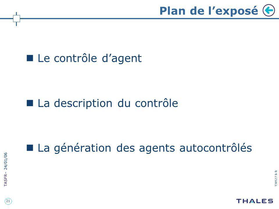 Plan de l'exposé Le contrôle d'agent. La description du contrôle.
