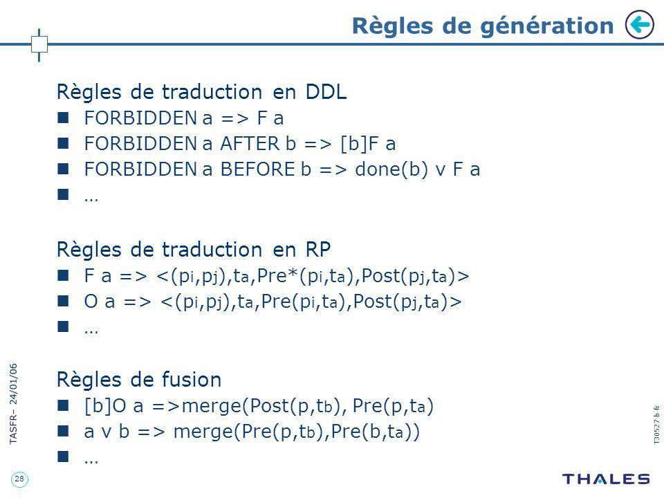 Règles de génération Règles de traduction en DDL