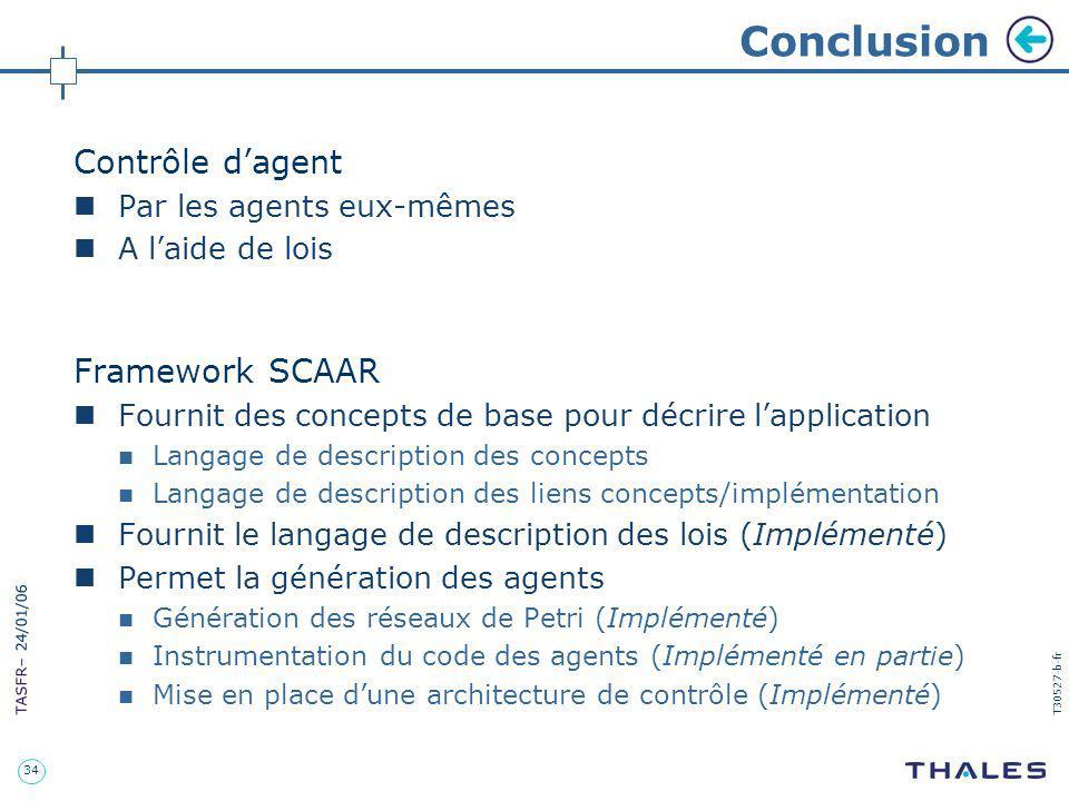Conclusion Contrôle d'agent Framework SCAAR Par les agents eux-mêmes