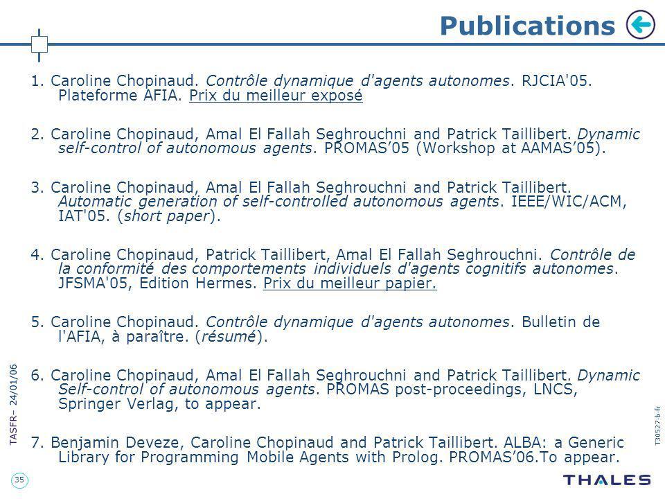 Publications 1. Caroline Chopinaud. Contrôle dynamique d agents autonomes. RJCIA 05. Plateforme AFIA. Prix du meilleur exposé.