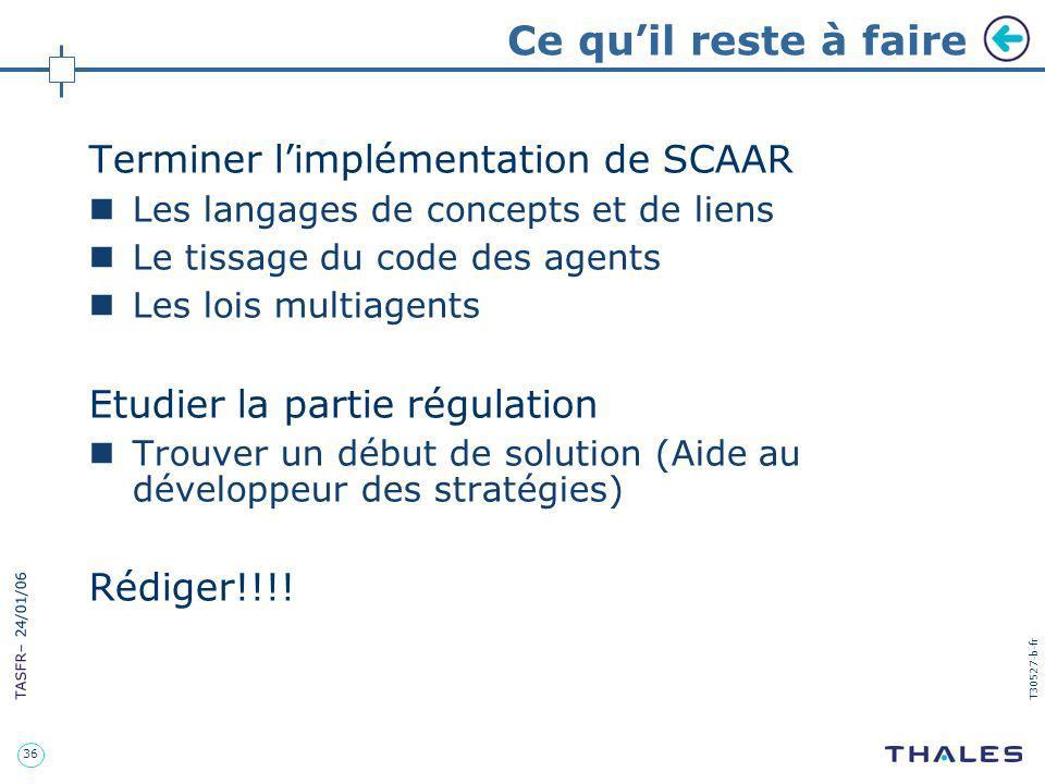Ce qu'il reste à faire Terminer l'implémentation de SCAAR