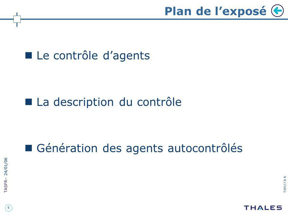 Plan de l'exposé Le contrôle d'agents. La description du contrôle.