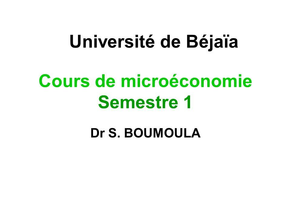 Cours de microéconomie Semestre 1
