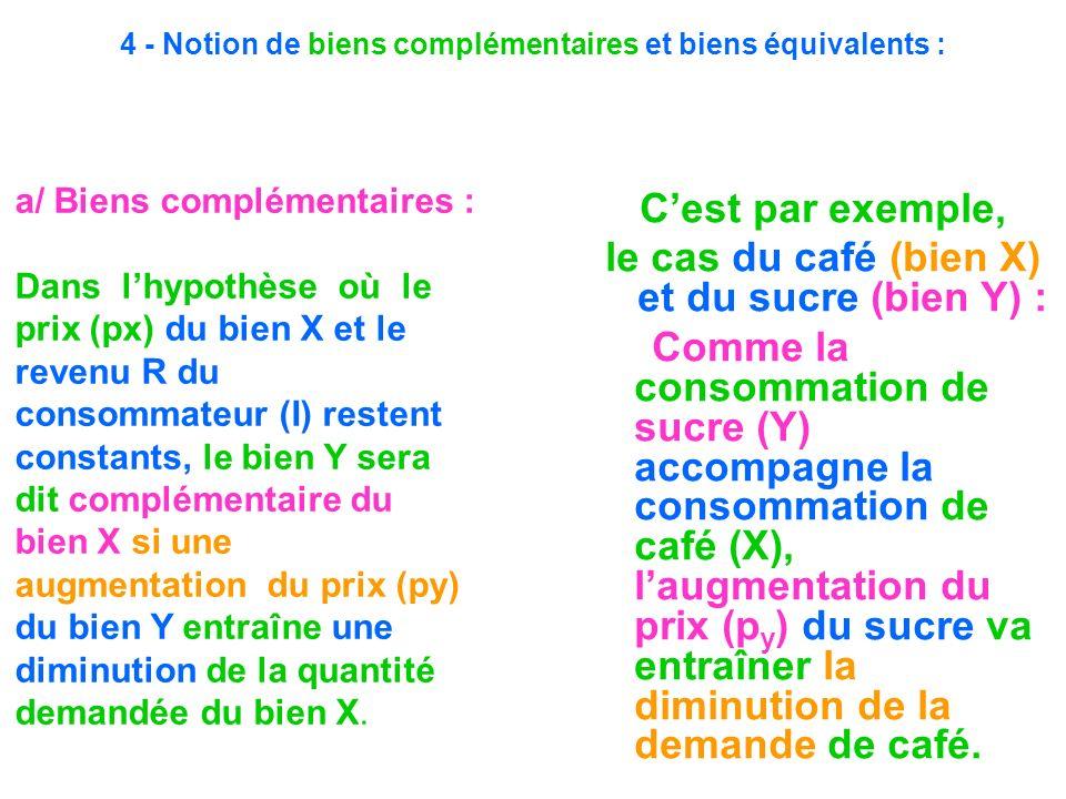 4 - Notion de biens complémentaires et biens équivalents :