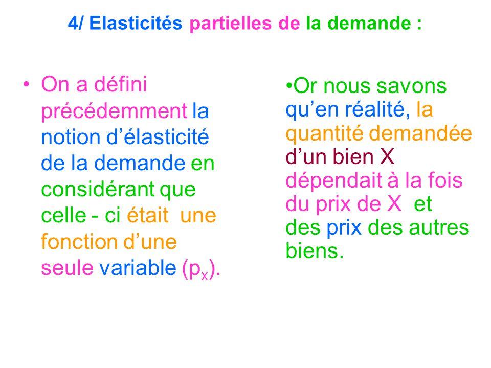 4/ Elasticités partielles de la demande :
